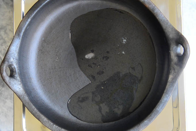 Oil heating in an oven safe pan.