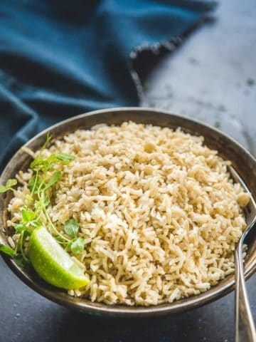 Instant Pot Brown Rice served in a bowl.