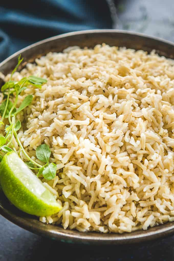 Close up shot of brown rice cooked in Instant pot.