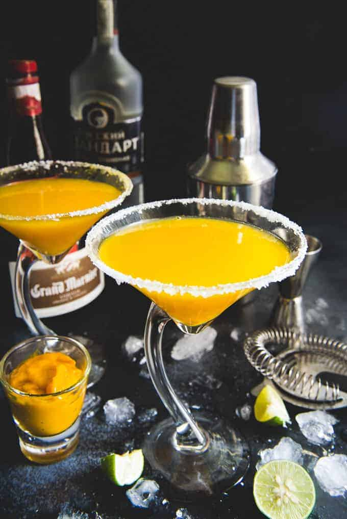 mango Martini served in glasses.
