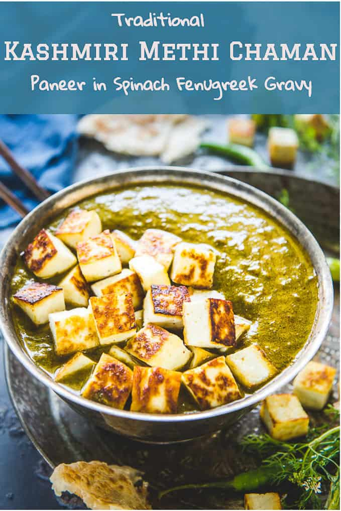 Kashmiri Methi Chaman is a traditional Kashmiri dish made with paneer and methi leaves and is an absolute delight. Get this Kashmiri taste on your dining table with this recipe. #Kashmiri #Paneer #Recipe #Indian #Curry
