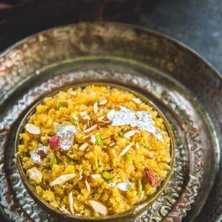 Moong dal halwa served in a plate.