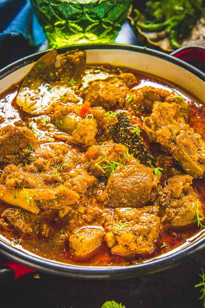 Close up shot of mutton curry recipe.