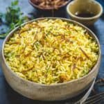 Steamy, filling and very aromatic, Saffron Rice is mainly prepared using plain Basmati rice, caramelised onions and saffron strands.