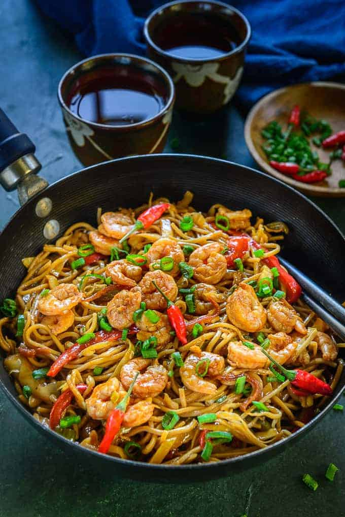 Shrimp Chow Mein served in a wok.