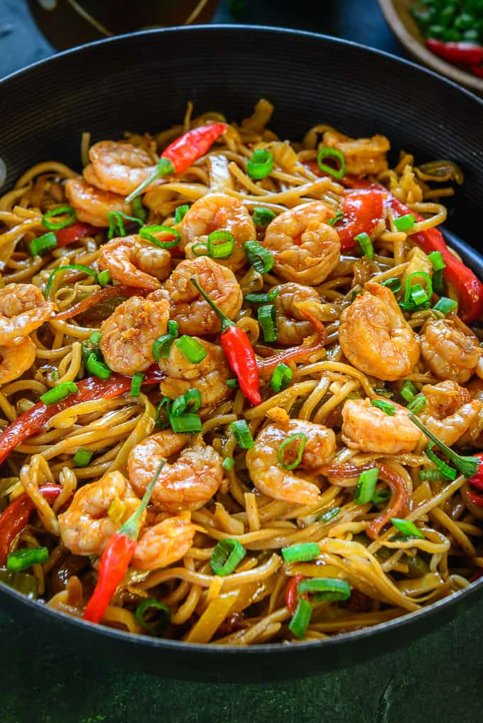 Close up shot of Shrimp Chow Mein Recipe