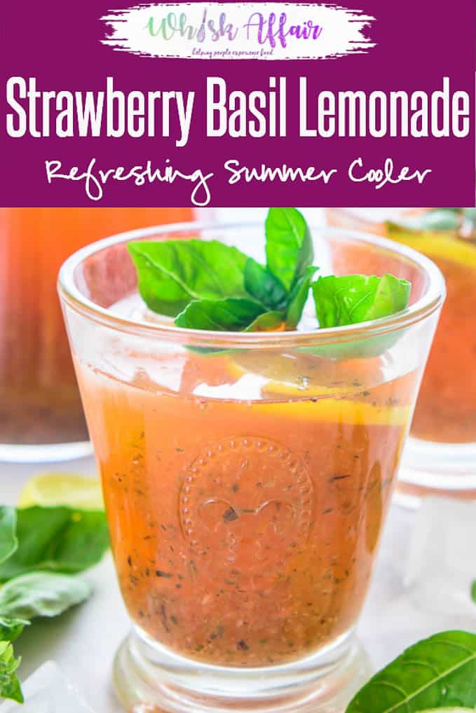 Strawberry Basil Lemonade incorporates the tangyness of lemon with a dash of sweetness of fresh strawberries, basil and heaps of crushed ice. #Strawberry #Basil #Lemonade #Drink #Beverage #NonAlcoholic #NoAlcohol #Summer #Cooler