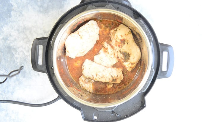 Cooked chicken in Instant pot.