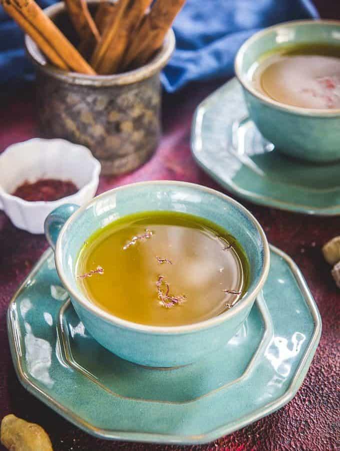 saffron Tea served in a cup.