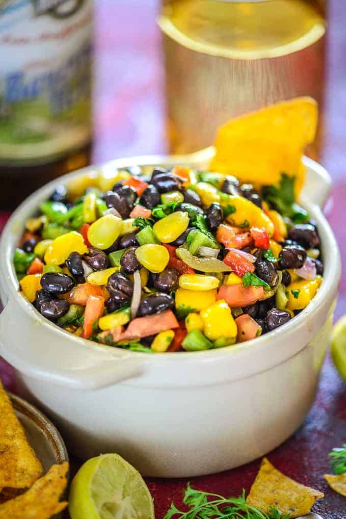 Black Beana nd Corn salsa Served in a bowl.