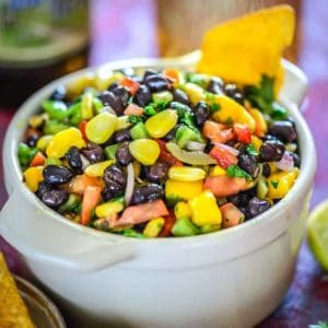An all-time eat on the go snack, Black Bean and Corn Salsa is both healthy and hearty! It has the goodness of black beans along with corn, red onion, red pepper, diced tomato, olive oil and more.