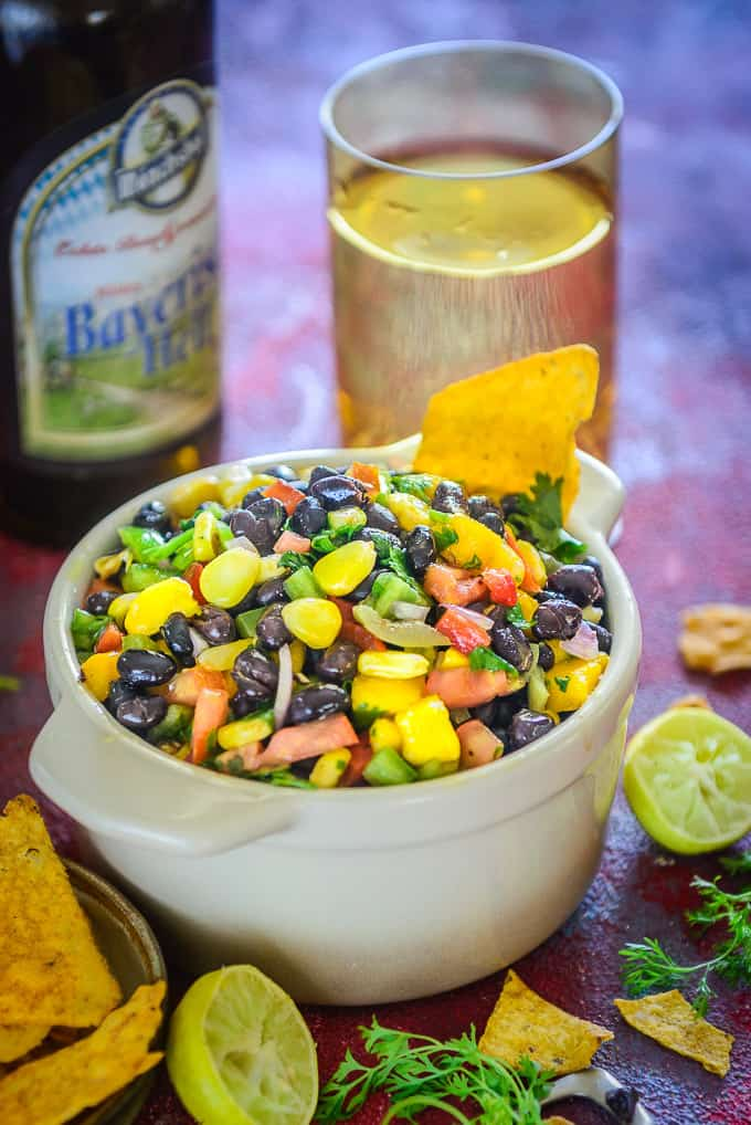 Corn and black bean salsa served in a bowl.