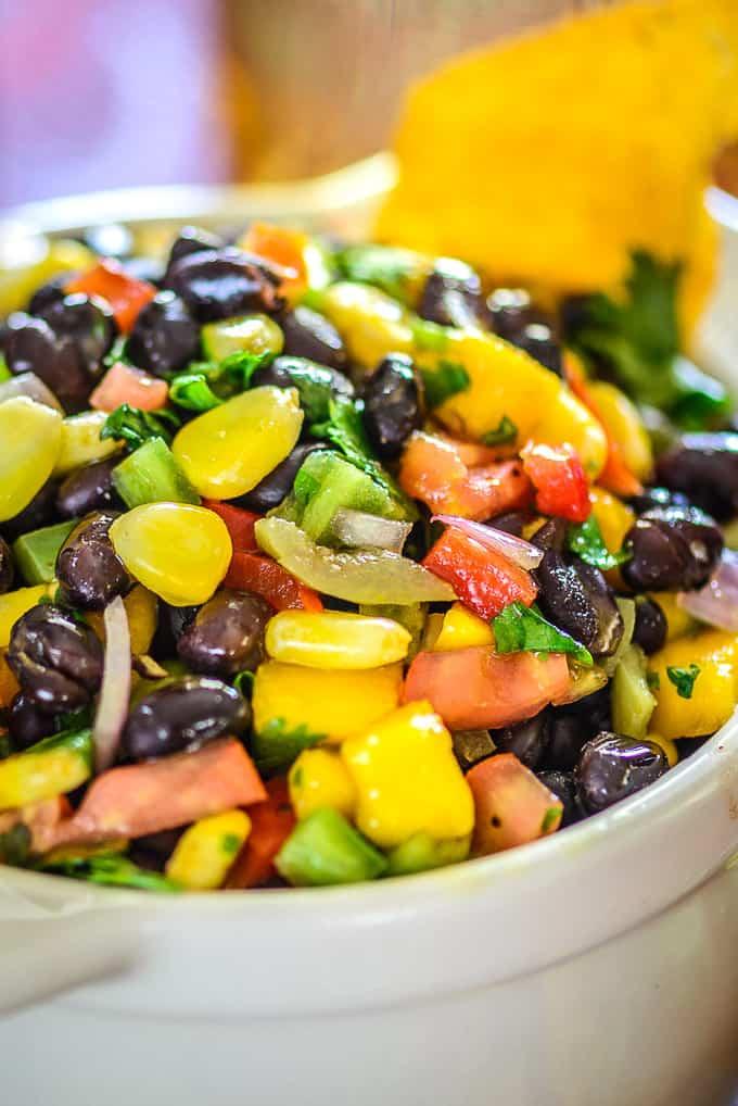 Close up shot of black bean salsa.