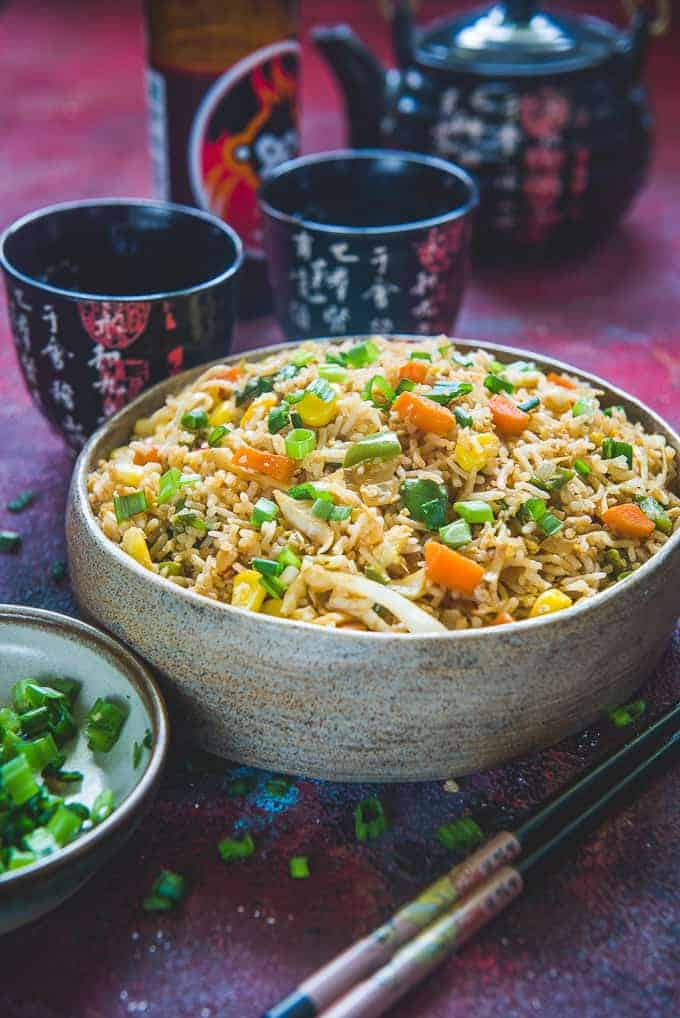 Egg fried rice served in a bowl.