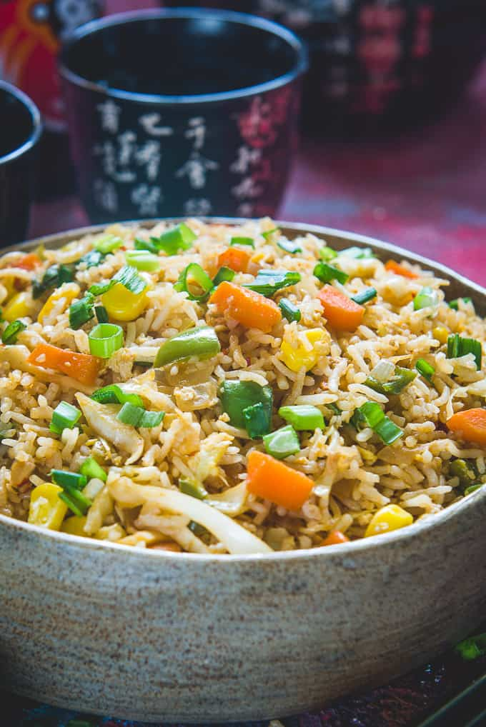 Close up shot of fried rice with egg.
