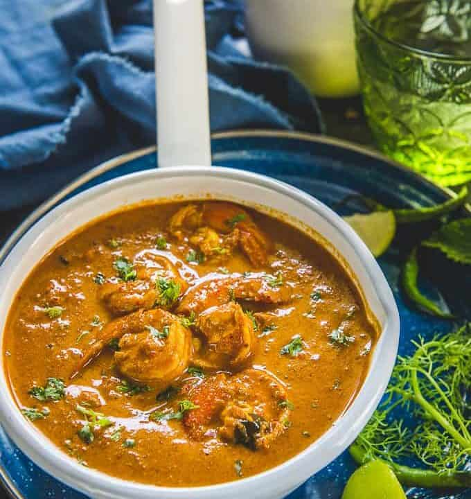 Goan prawn Curry served in a bowl.