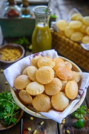 Atta Golgappa served in a basket.