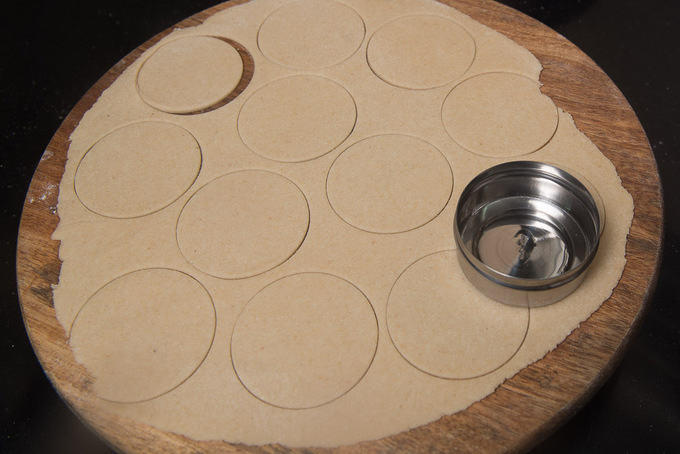 Dough cut into small circles.