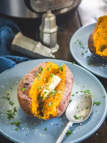 Instant Pot Sweet Potato served in a plate.