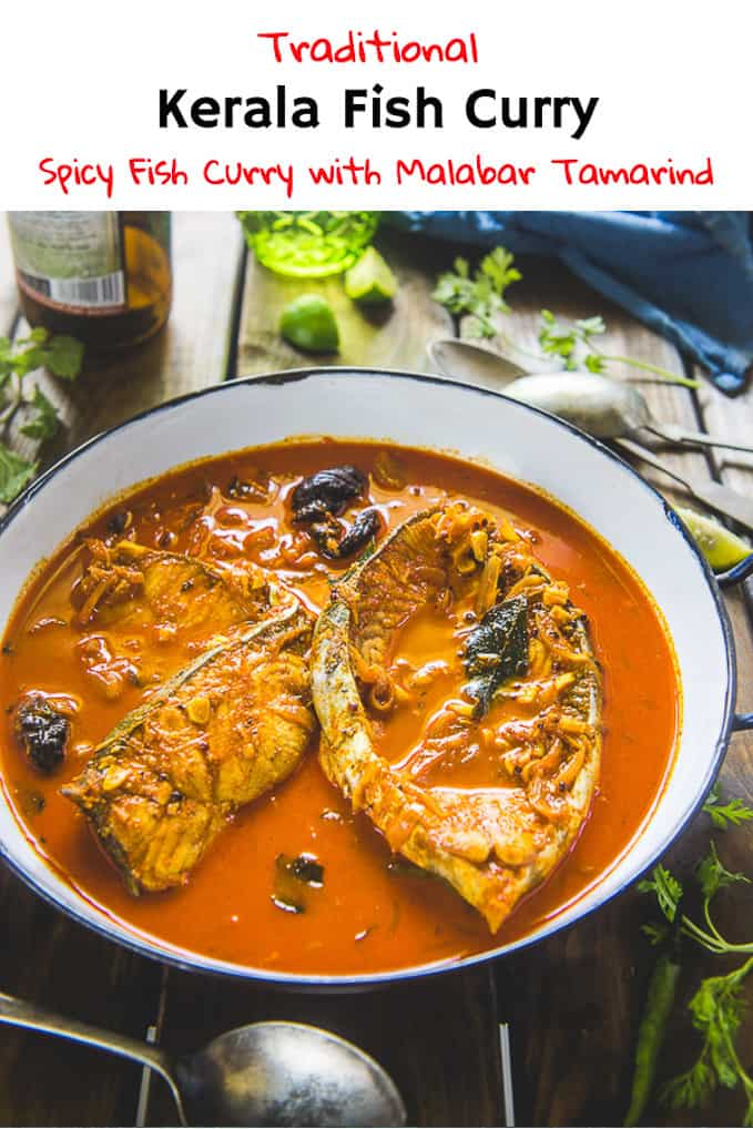 Kerala Fish Curry is a traditional Malabari dish and is a tad spicy curry. But, most importantly, it has a signature taste of kudampuli (Dried malabar tamarind) and curry leaves. Make it at home with my authentic recipe to make fish curry Kerala style without coconut. #Fish #Curry #Indian #Kerala #Seafood