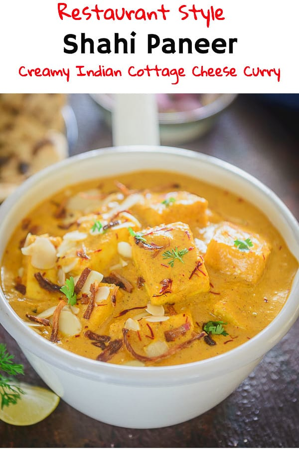 Shahi Paneer is soft, delectable pieces of paneer cooked in a rich creamy base of almond and cashew. It tastes delicious with roti or rice. #Indian #Paneer #Curry #Recipe