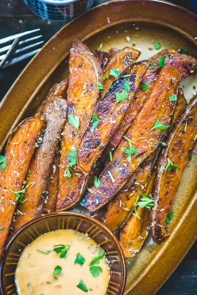 Close up shot of baked Sweet Potato Wedges.