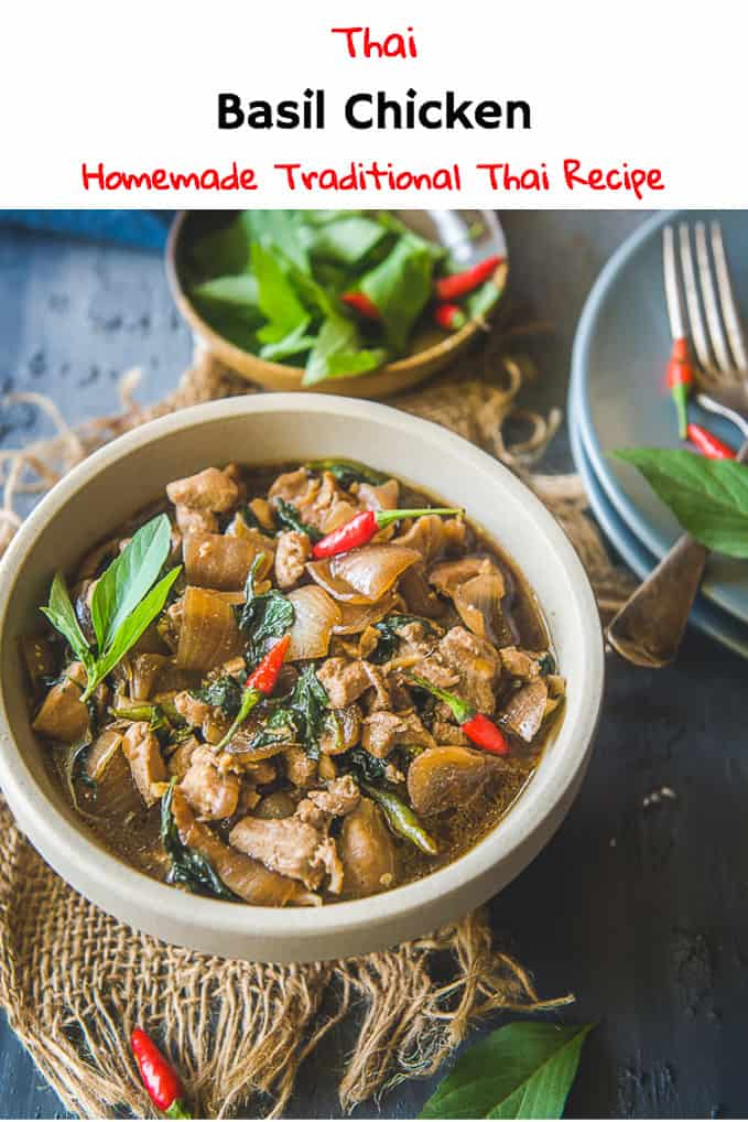 Thai Basil Chicken is a quick and easy to make Thai dish with bold flavours which can be served with steamed rice or noodles. Here is a traditional recipe to make homemade Thai Basil Chicken Stir Fry. #Thai #Chicken #Recipe #Maincourse #Asian
