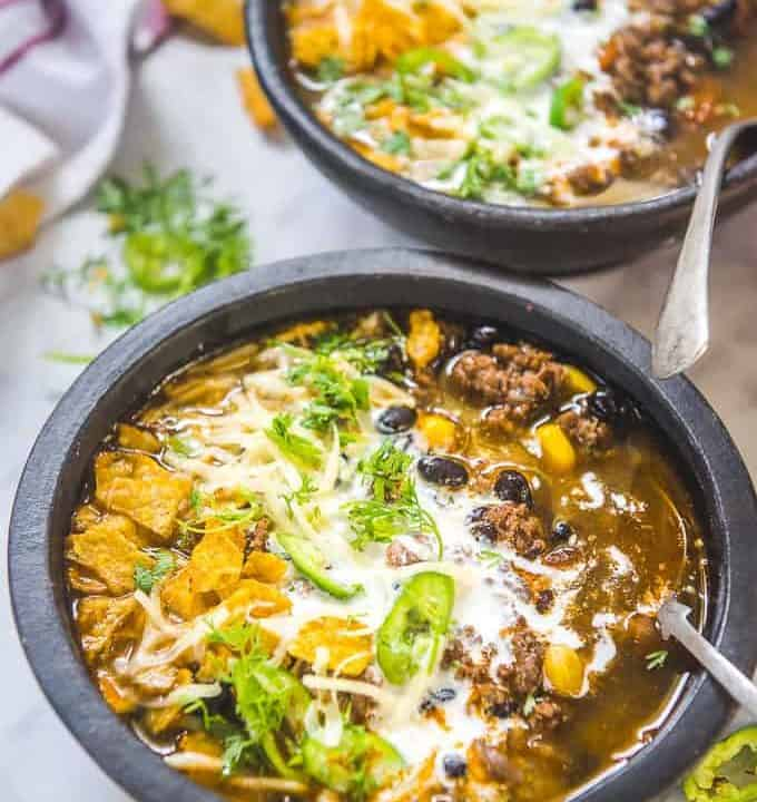 Instant Pot Taco Soup served in a bowl.