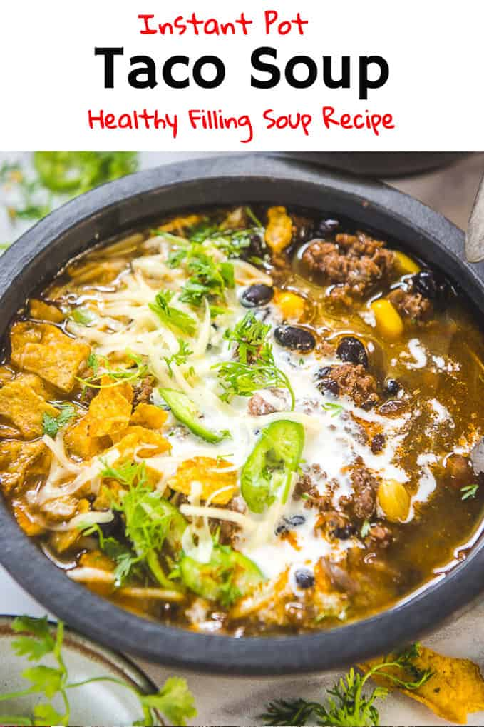 Ridiculously easy to make, Instant Pot Taco Soup is a healthy appetite opener which tastes scrumptious as well. It gets ready within 30 minutes of cook time. So, make it whenever you want as it is one of the easiest instant pot recipes and serve it with a fresh dollop of sour cream. Here's its recipe. #InstantPot #PressureCooker #Recipes #Beef #Soup #Taco #Mexican