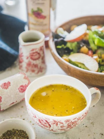 vinaigrette served in a cup.