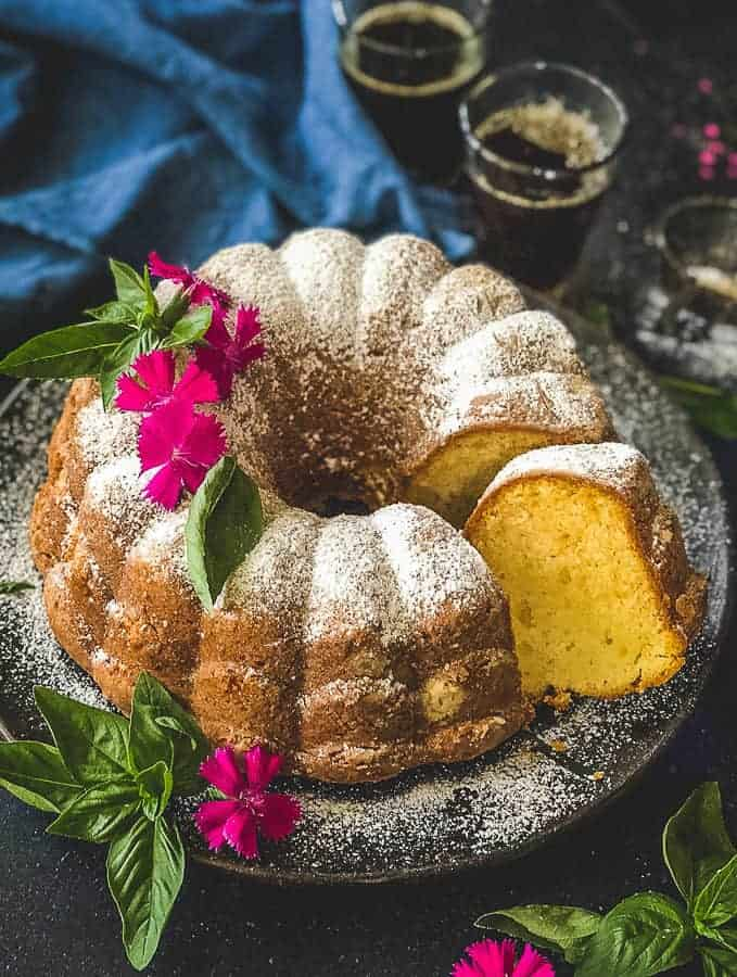 Soft and moist sour cream pound cake served in a plate.