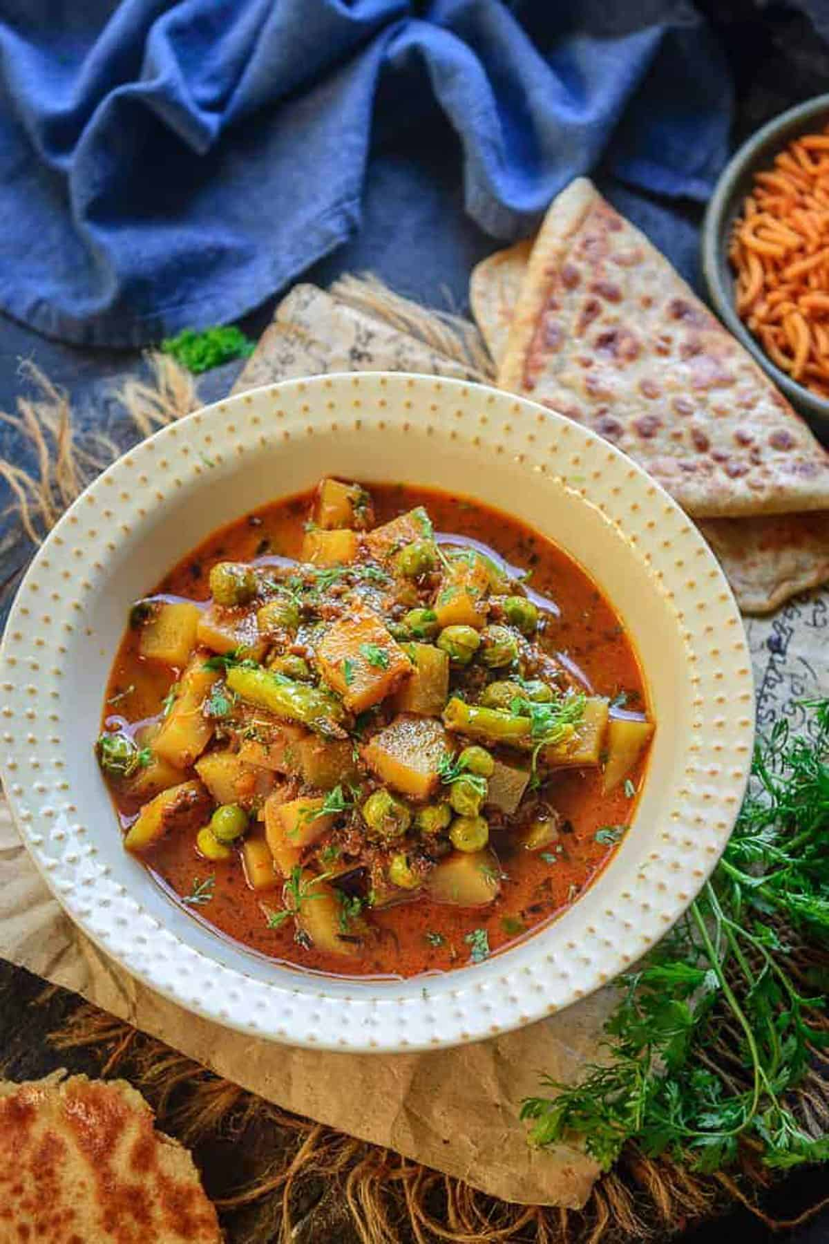Aloo Matar served in a bowl.