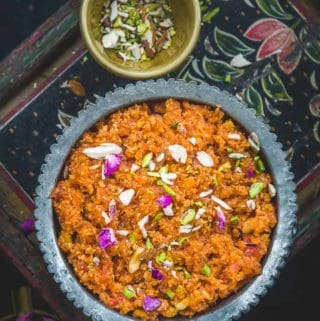 Gajar ka Halwa served in a bowl.