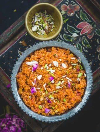 Gajar ka Halwa served in a bowl.