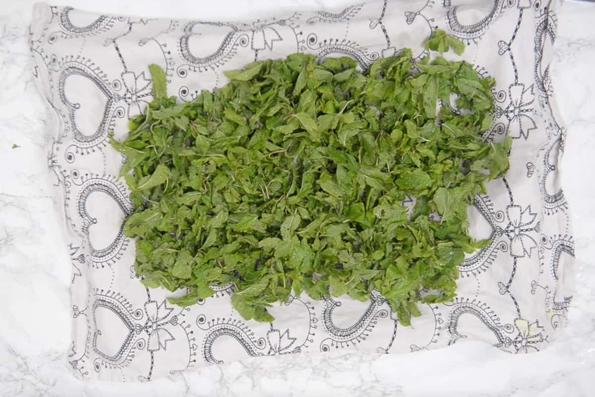 Mint leaves spread on a tray.