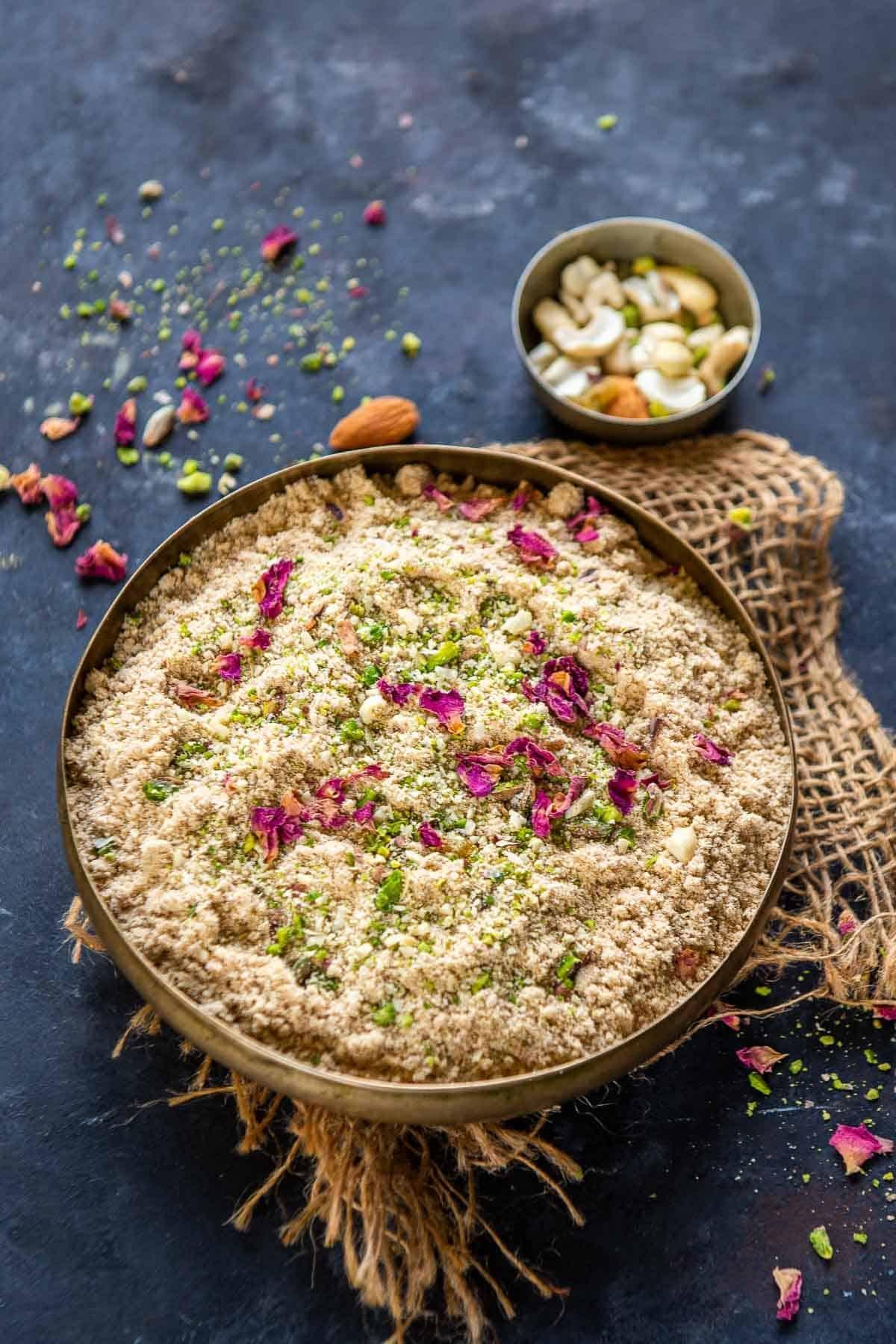 Panjiri served in a bowl.