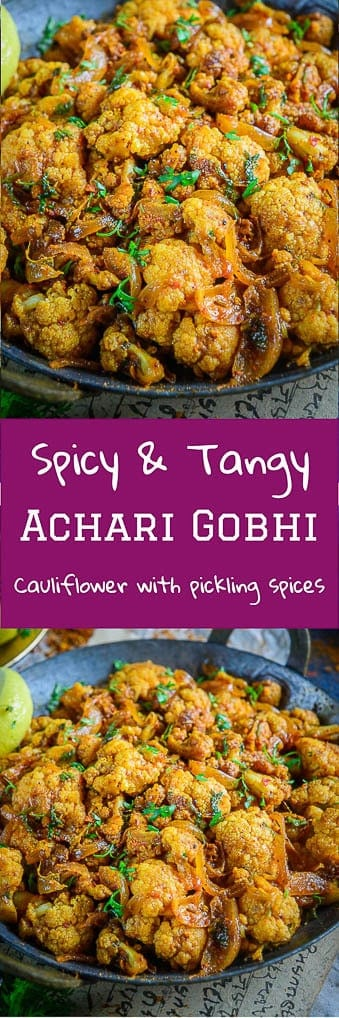 Achari Gobhi is a lipsmacking variation of the regular gobhi sabzi that you make at home. Serve with piping hot rotis and rice, you would love it! #cauliflower #Sabji #Indian #Curry