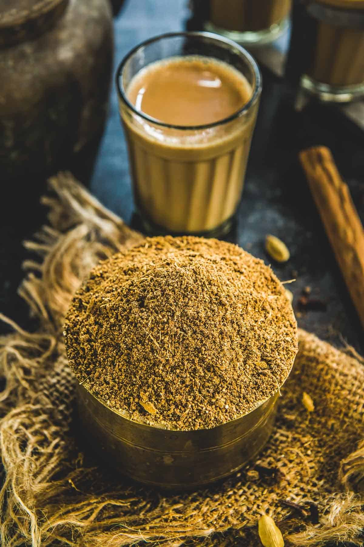 Masala chai spice mix served in a bowl.