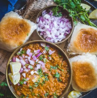 Pav Bhaji served in a plate.