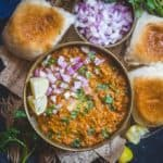 Pav Bhaji is a popular snack from Maharashtra which is a mish mash of a variety of vegetables and spices served with a special bread called pav.