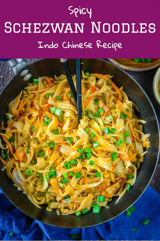 Veg Schezwan Noodles are easy to make at home and they pair well with nay Indo Chinese curries. You can have them as such also. #Chinese #IndoChinese #Schezwan #Noodles #Vegetarian