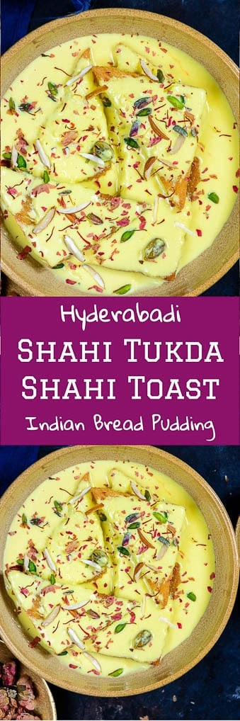 Shahi Tukda or Shahi Tukra is a traditional Hyderabadi Dessert made by deep frying bread slices in ghee and dunking it in sugar syrup.#Indian #Sweet #Dessert #Festival