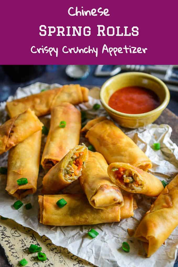 Spring rolls is a classic Indo Chinese dish perfect for evening snacks or entertaining guests. Use this simple Spring Roll Recipe and make these at home. #Chinese #Snack #Appetizer #Rolls #Roll