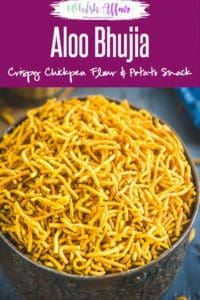 Aloo Bhujia Sev is an Indian dry snack made with chickpea flour and potatoes. It is a must make during festivities and be easily made at home. #Indian #Diwali #Holi #Snack #Teatime