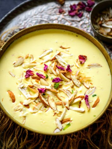 Badam Kheer is a delicious Indian dessert where milk is cooked with almond paste and saffron. Make it for festivities for your house party, it will please everyone.