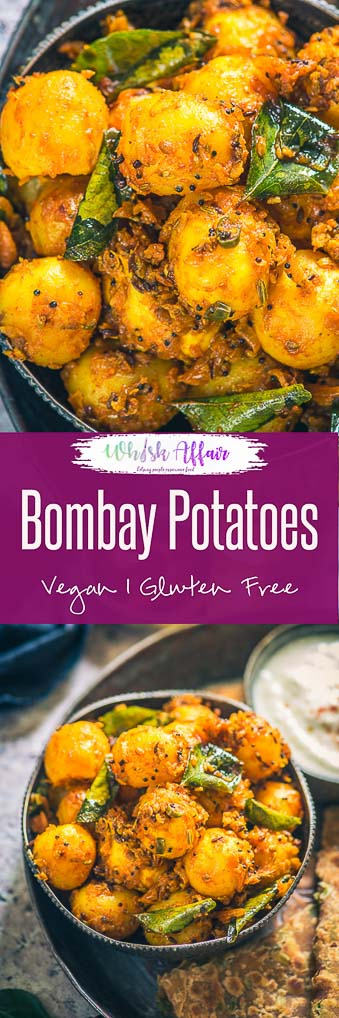 Bombay Potatoes is a popular dish made using baby potatoes and Indian masalas. Popular in the UK as well, this easy and simple to make tasty potato dish can be served with Rotis, Dal and Rice. Here is how to make Homemade Bombay Potato Curry. #Potato #Curry #Indian #Vegan #Vegetarian