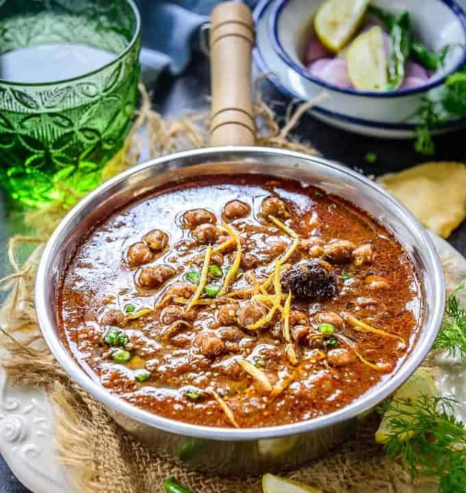 Punjabi Chole served in a bowl.