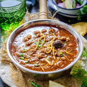 Punjabi Chole is an exotic curry from the north region of India. It's made from chick peas, onion tomatoes, ginger garlic and Indian spices.