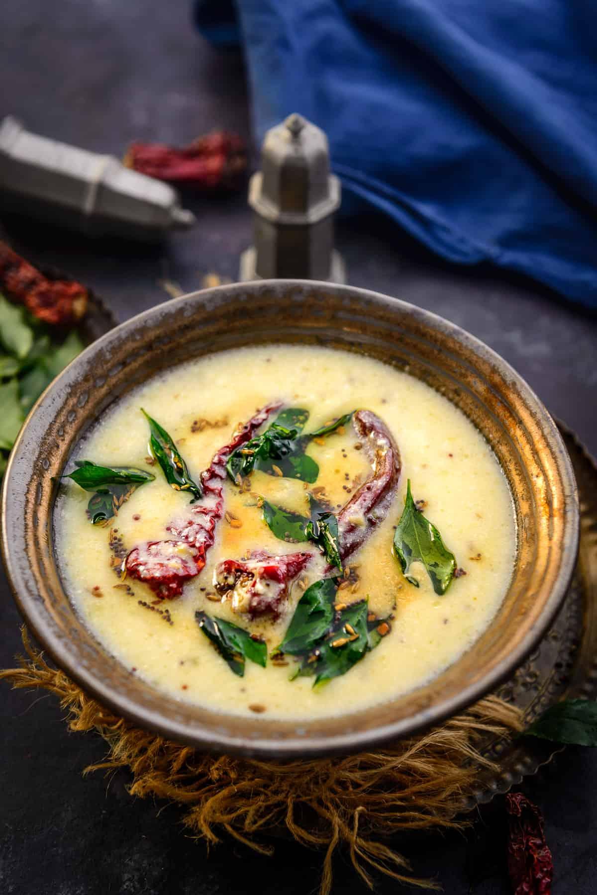 Gujarati kadhi served in a bowl.