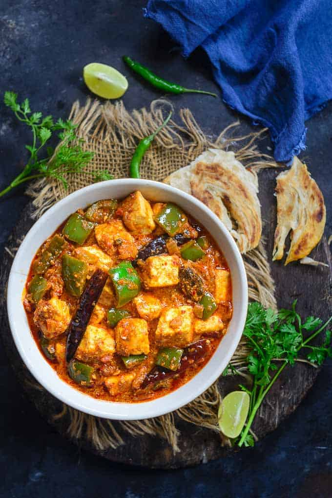 Kadai Paneer served in a bowl.